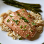 Marinated Asian Glazed Salmon recipe with honey, lime, garlic, and ginger. Quick, easy, and flavorful!