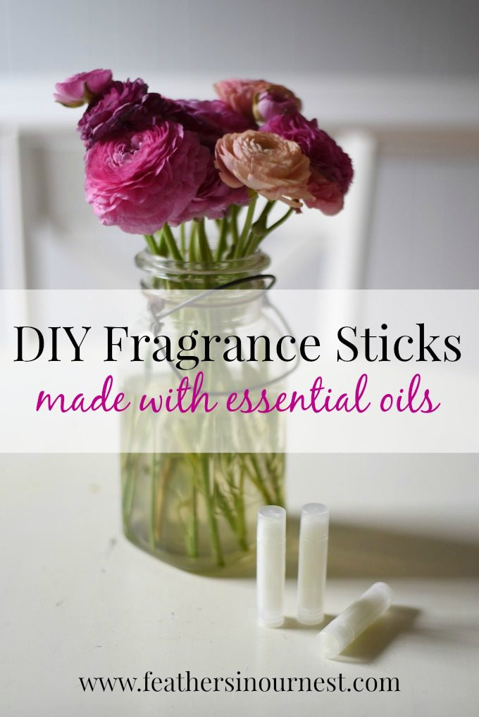 Make your own fragrance sticks (solid perfume) using your favorite essential oils or blends! Three simple ingredients and easy to make! | Feathers in Our Nest