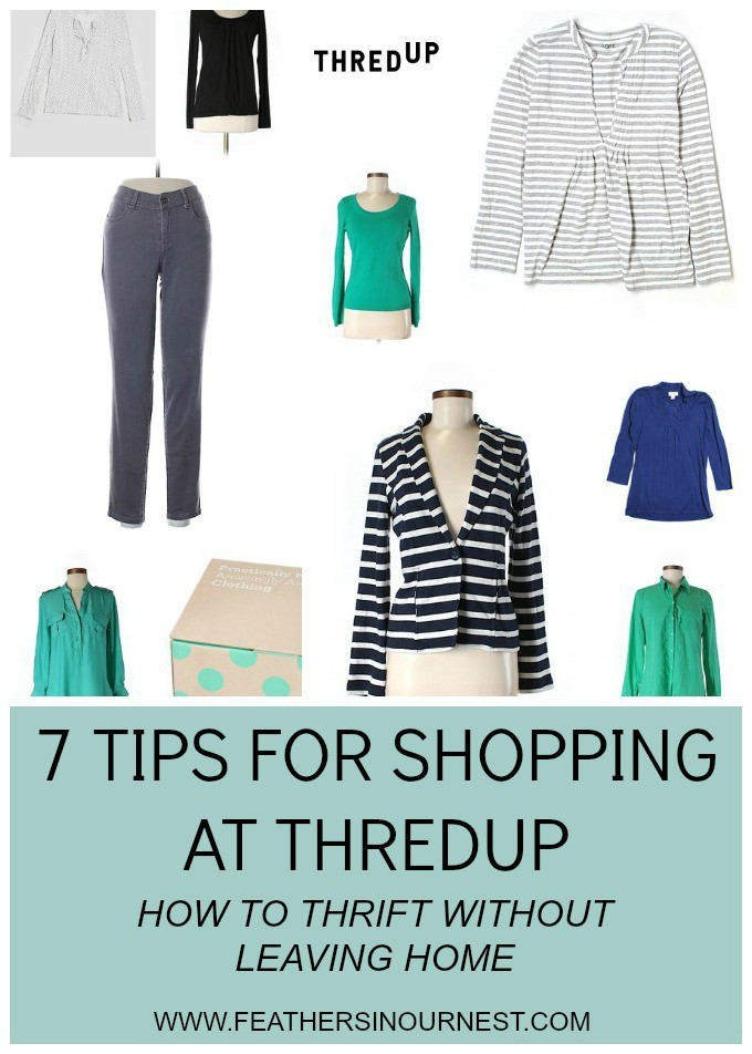 7 awesome tips for shopping at thredUP - AKA the best way to thrift shop for clothing and shoes without ever leaving home! Plus, how to save $10 on your first purchase. | Feathers in Our Nest