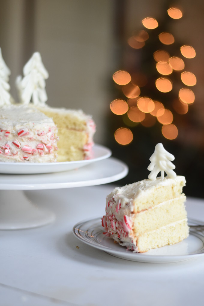 Peppermint Cake with Buttercream Frosting and White Chocolate Ganache
