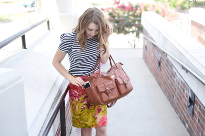 Lily Jade Elizabeth Diaper Bag in Camel - what a perfect bag! On my wish list for sure. I love it! | Feathers in Our Nest