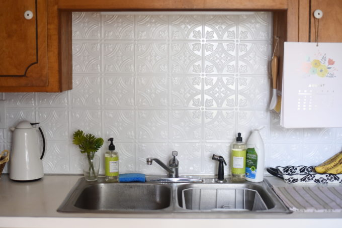 DIY White Faux Tile Kitchen Backsplash | Feathers in Our Nest