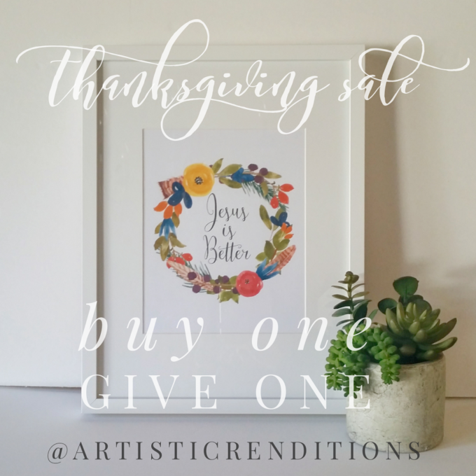 Buy one, give one Scripture art prints @artisticrenditons Etsy | Feathers in Our Nest